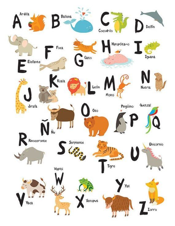 Spanish Alphabet 8x10 In 11 X 14 In 17 X 22 In Abecedario Alfabeto Abc Print Digital Alphabet Nursery Wall Decor Nursery Wall Art In 2020 Spanish Alphabet Spanish Alphabet Activities Alphabet Poster