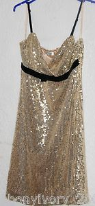 STRAPY  STRETCH GOLD SEQUINNED DRESS SIZE 14
