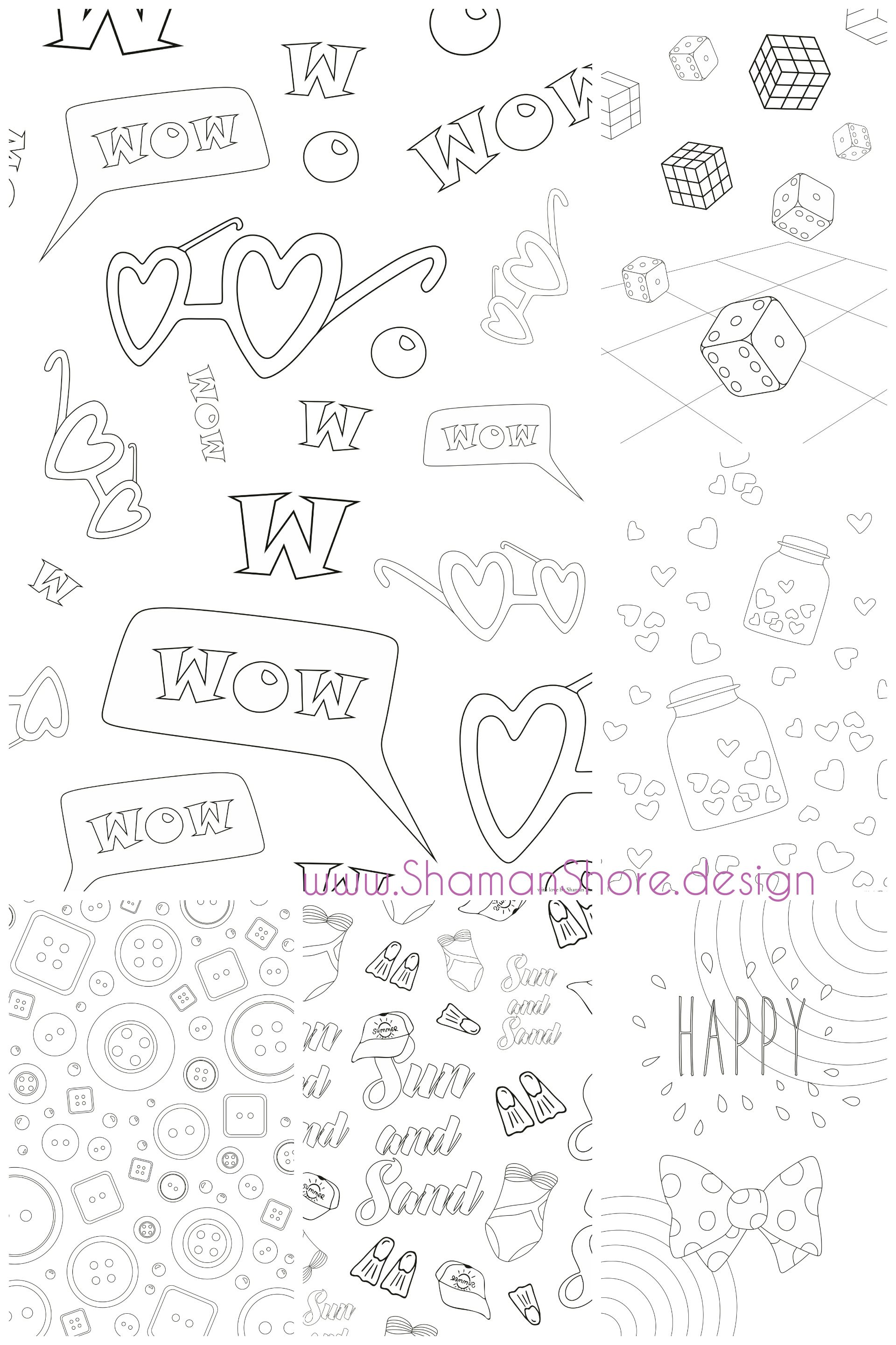 Digital Adult Coloring Book 20 Adult Coloring Pages