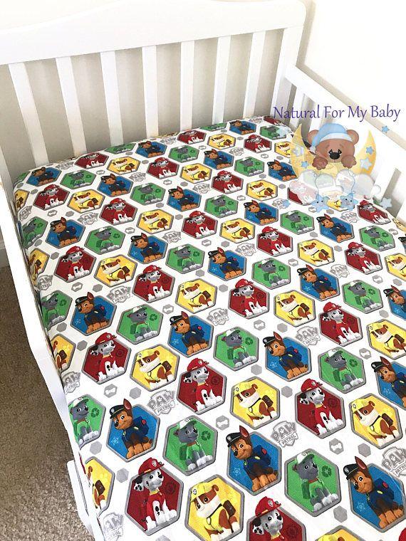 Disney Paw Patrol Dog Cotton Sheet Nursery Pad Cover Crib Etsy Pack And Play Sheets Custom Size Mattress Mini Crib Sheets