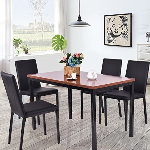 New 5 Pcs Dining Table Set 4 Pu Leather Chairs Home Kitchen