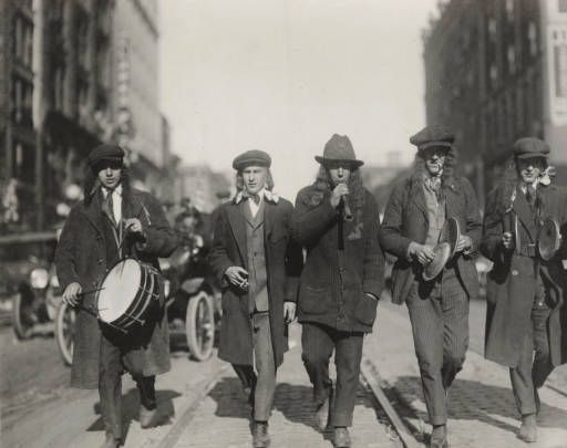 Men Playing Musical Instruments at the Peace Day Parade :: Onondaga County Public Library - Local History & Genealogy Department