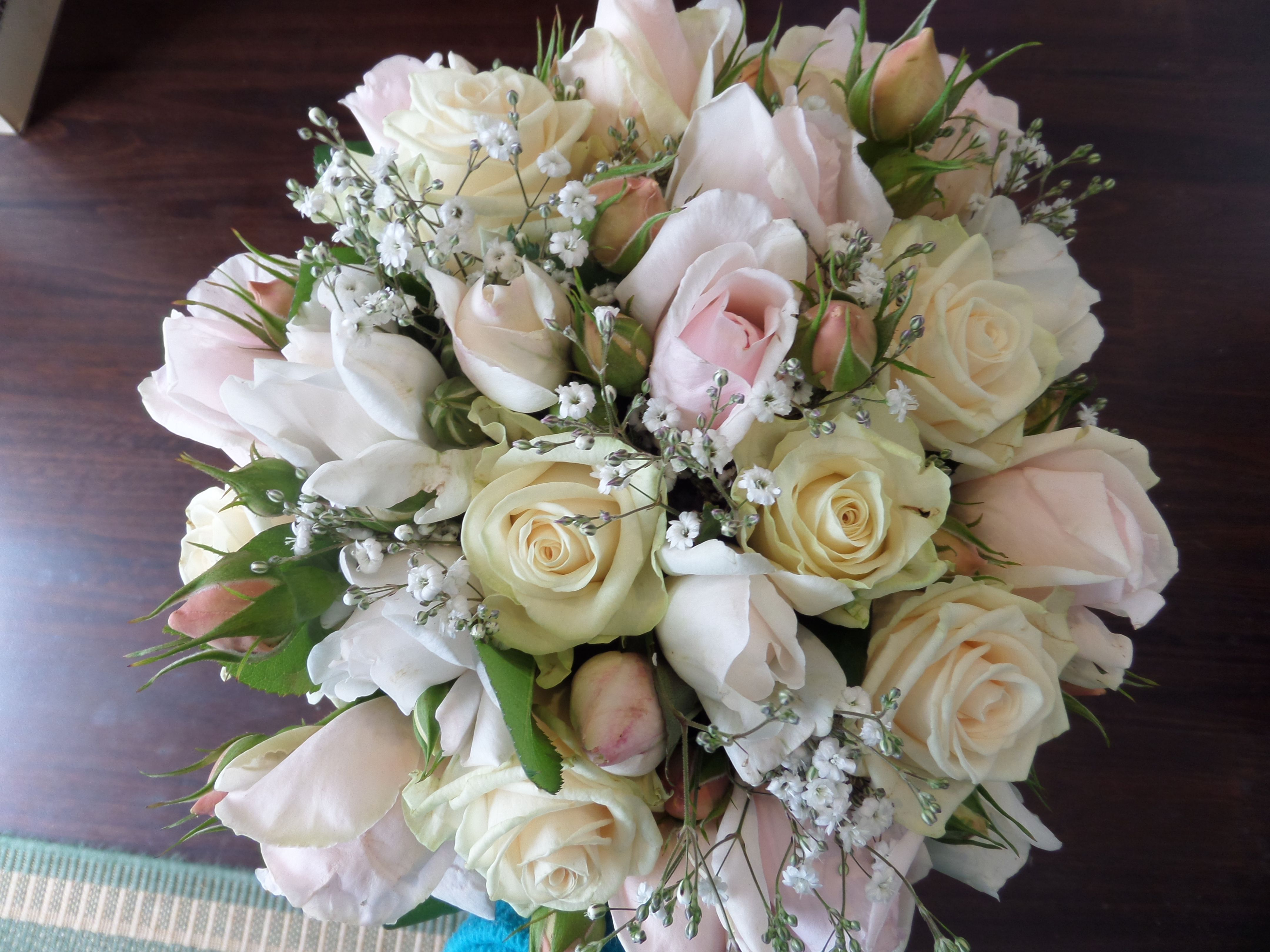 Pretty Bouquet Of Pale Pink And White David Austin Roses With Some