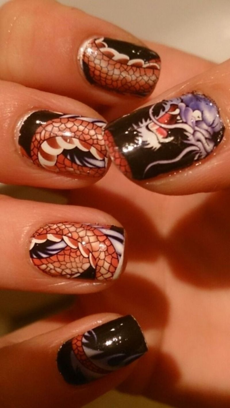 The 30 Best #Dragon Nail Art Designs in the Whole World ... | Nail ...