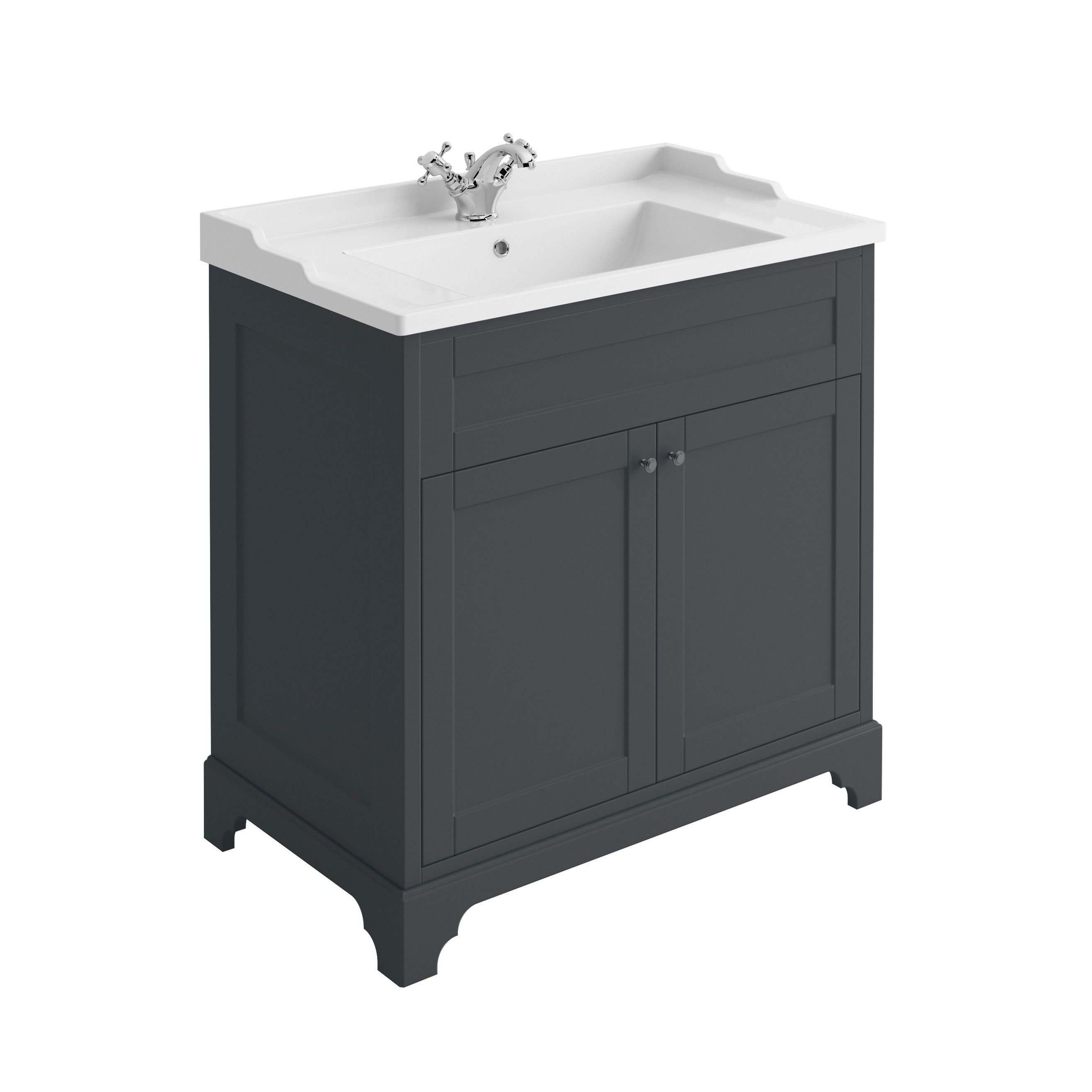 Arundel Midnight Grey Floor Standing Vanity Unit 800mm Easy Vanity Units Traditional Vanity Units Vanity