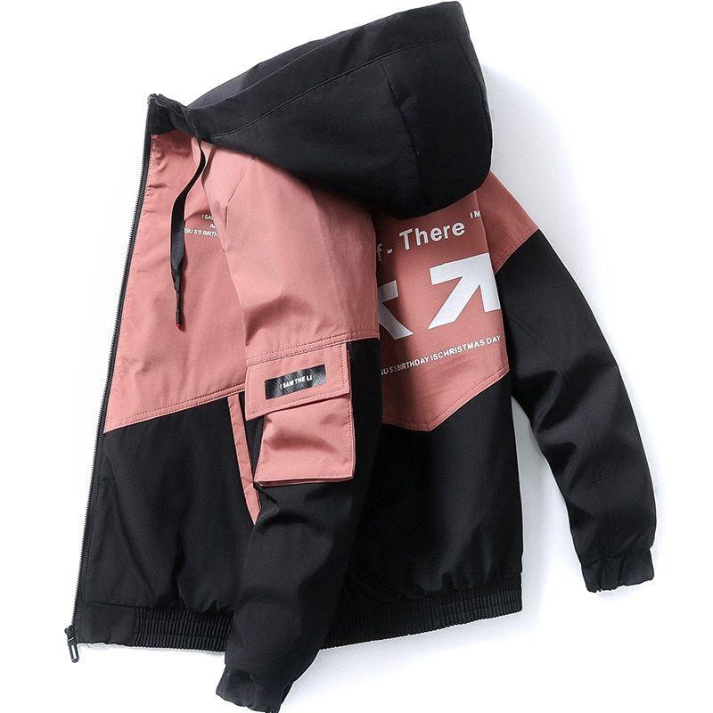 Fgkks Chaqueta Con Estampado De Marca De Moda Para Hombre Chaqueta Con Capucha De Calle Alta Para Primavera Y Otoño In 2021 Mens Jackets Hooded Bomber Jacket Jackets