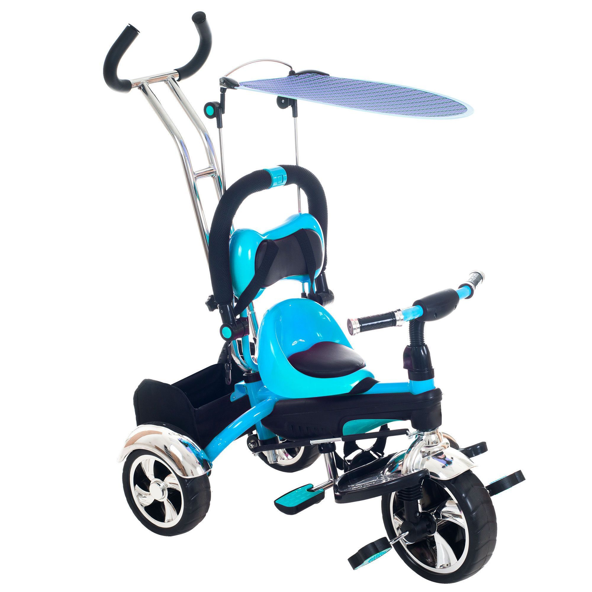 4 In 1 Ride-On Toys Baby Toddler Pram Tricycle Bike Trike Stroller Kids Canopy
