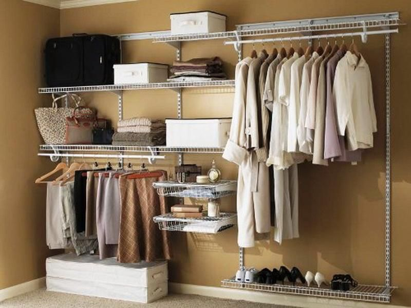 Simple Built In Closet Ideas With White Drawers Also Valet Hanger Rods And  Aluminium Shelves Decorations And Beautiful Bags
