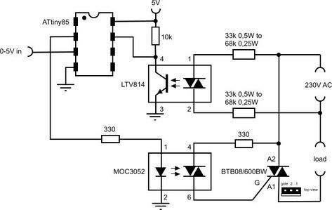 Voltage controlled dimmer with an ATtiny85 #