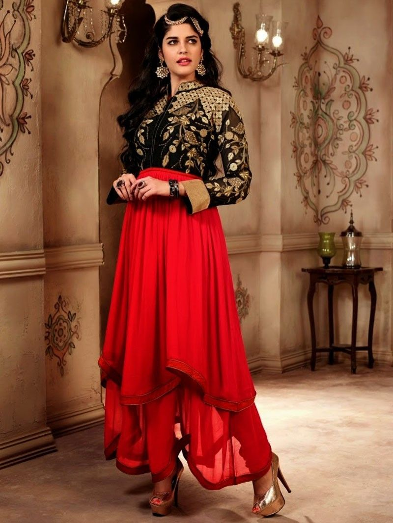 Red with Black Flared Anarkali Suit  Churidar 2101TF