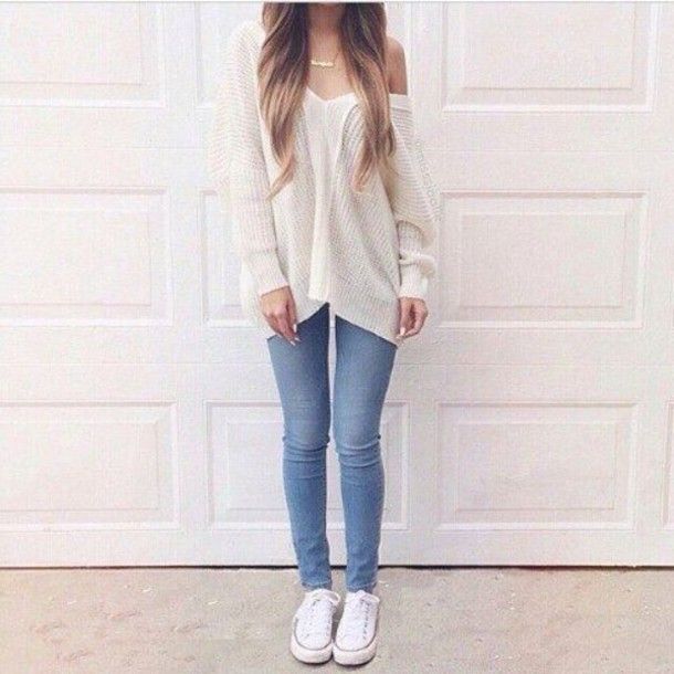 Simple But Classic. White Converse Denim Skinny Jeans And Cute Loose White Sweater. | SHE N ...