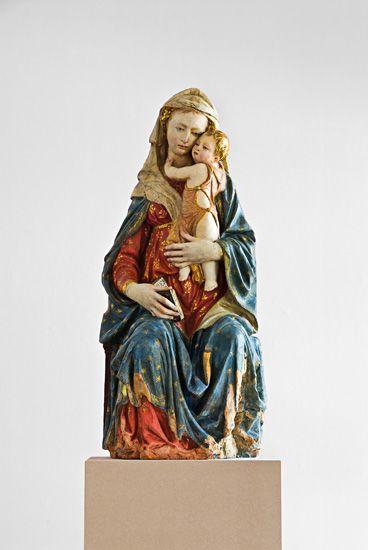 Nanni di Bartolo, Madone à l'Enfant, vers 1420, terre-cuite polychrome, Krefeld…