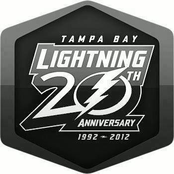 black and white 20th anniversary logo tampa bay lightning