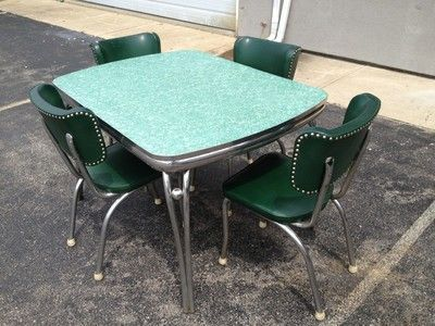 1950s diner dining room kitchen formica chrome table 4 - Vintage formica kitchen table and chairs ...
