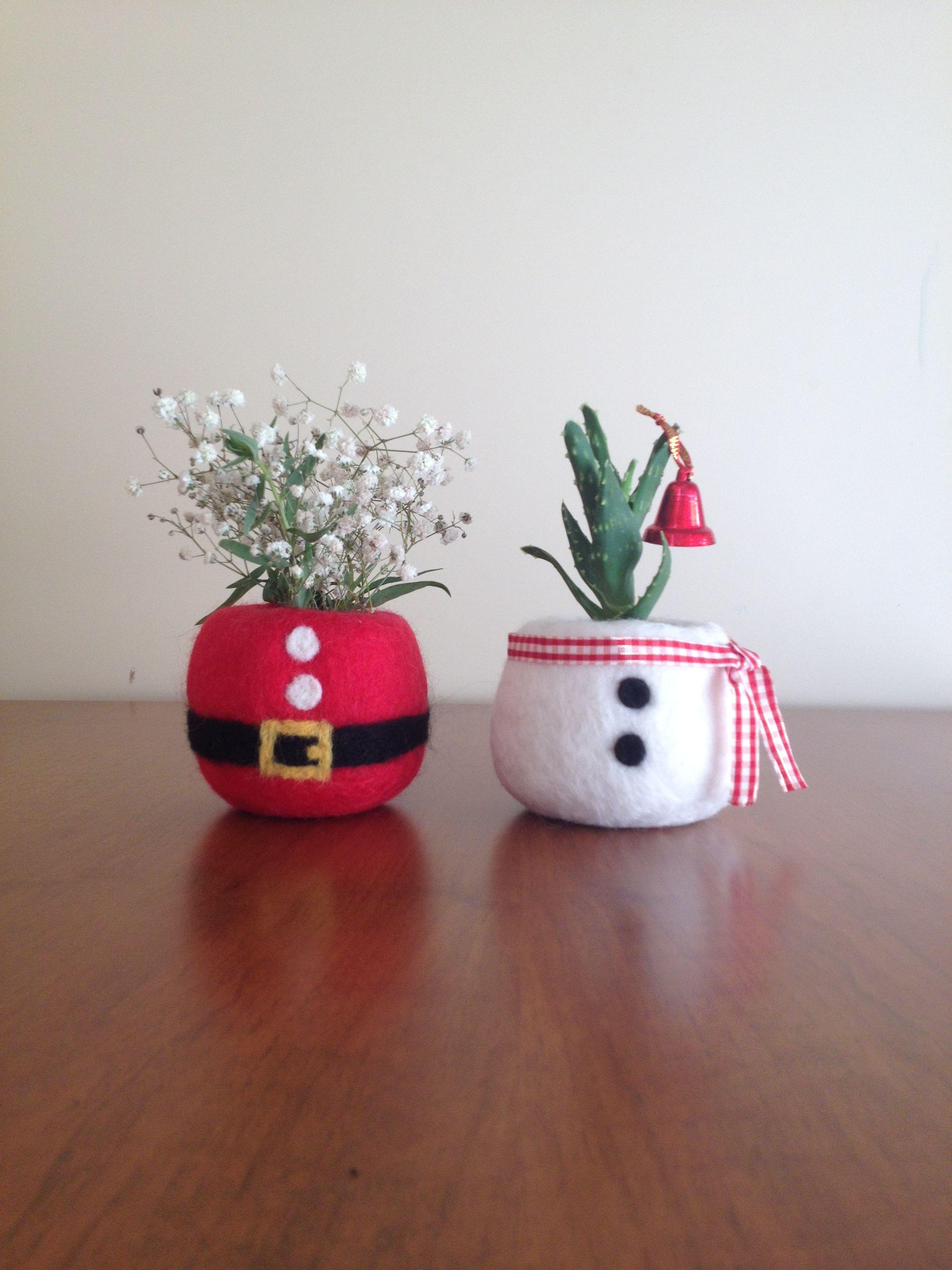 Christmas Succulent Planters.Santa Claus Ornaments Snowman Christmas Decoration