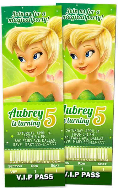 Tinkerbell Invitation by partypassiondesign on Etsy 500
