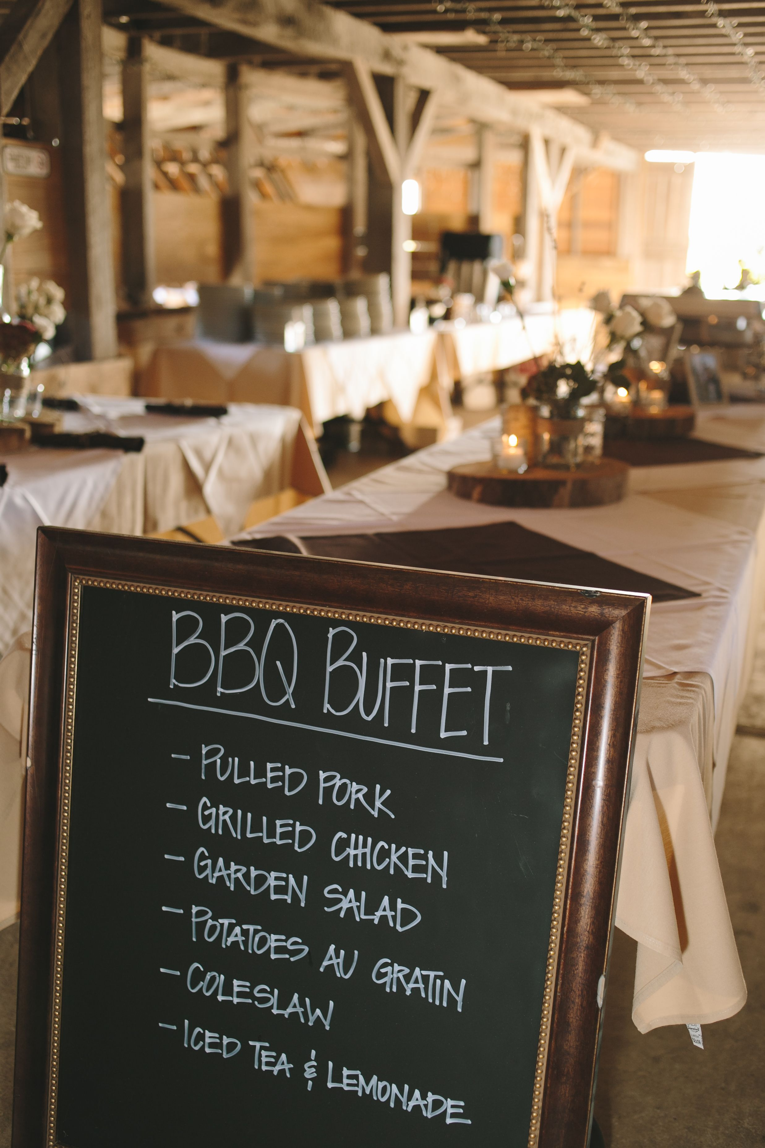 fall bridal shower menu ideas%0A Barbecue Buffet Reception Dinner with Chalkboard Menu More