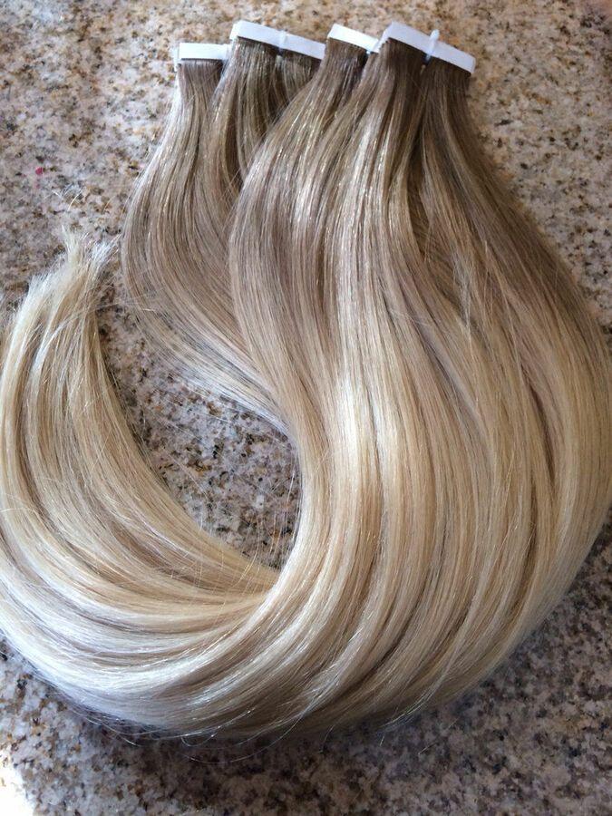 Remy Echthaar Tape In Extensions Haarverlngerung Ombre 40 Tressen