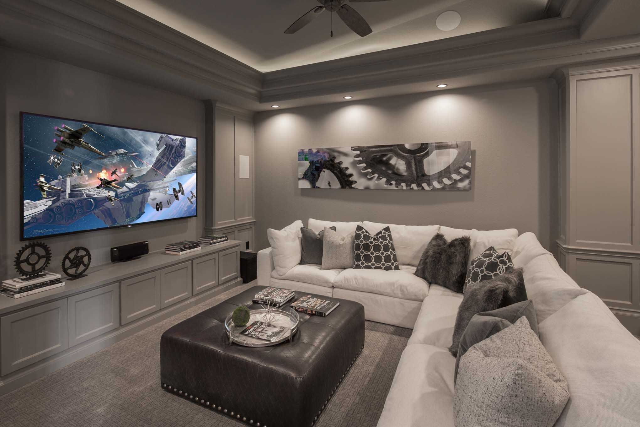 An Industrial Chic Entertainment Room Is Perfect For Family Time