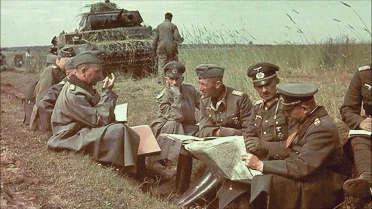 ww2 color photos Germans sitting and