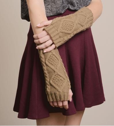 Brocade Knit Fingerless Gloves
