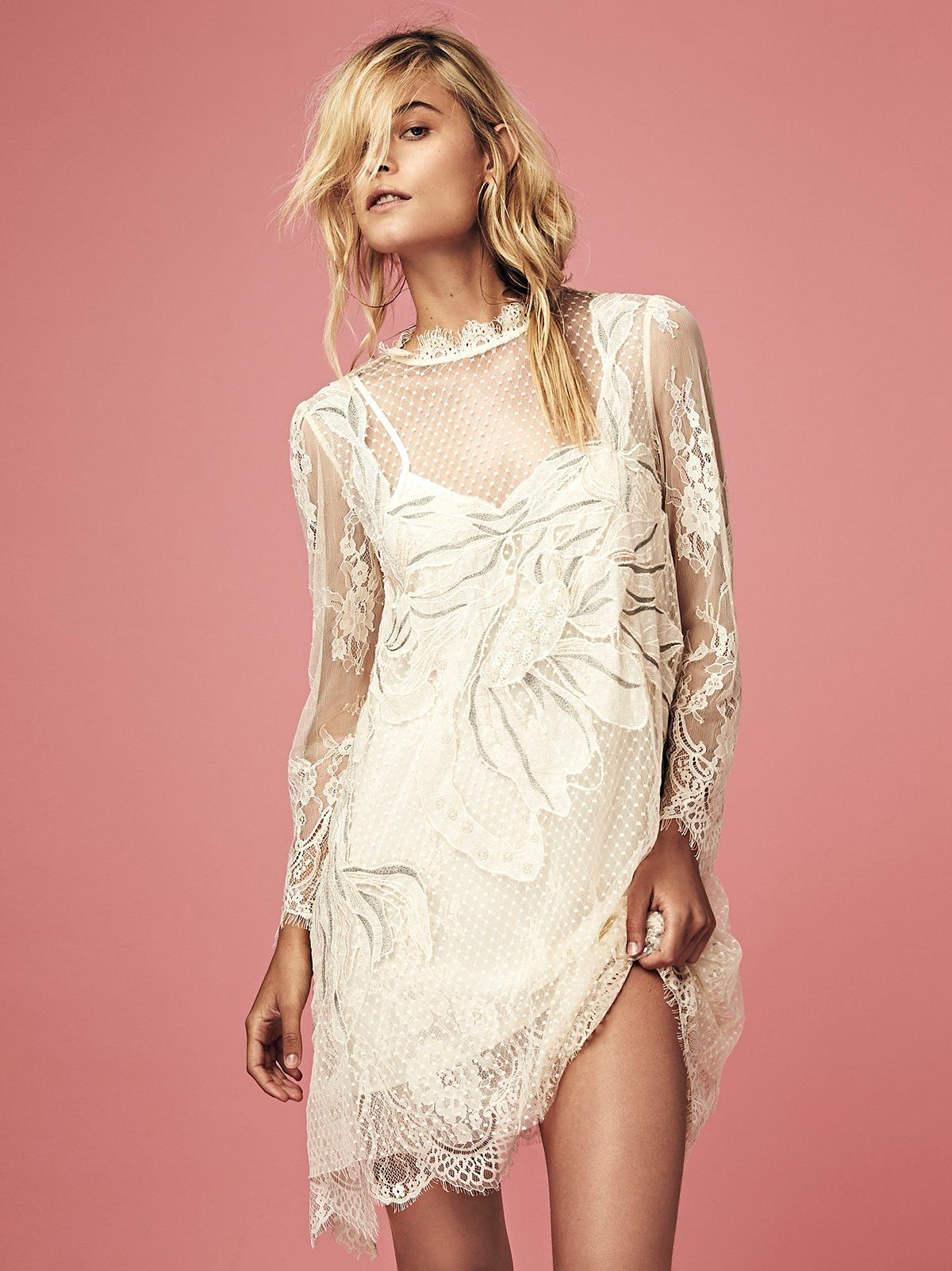 Lace slip dress with beaded embroidery