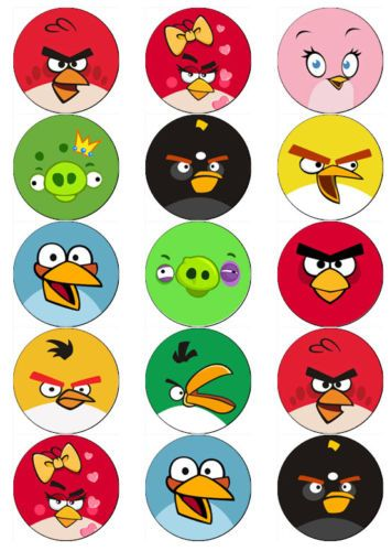 Angry Bird Faces V2 Edible Wafer Paper Toppers Cupcakes Muffins Cake
