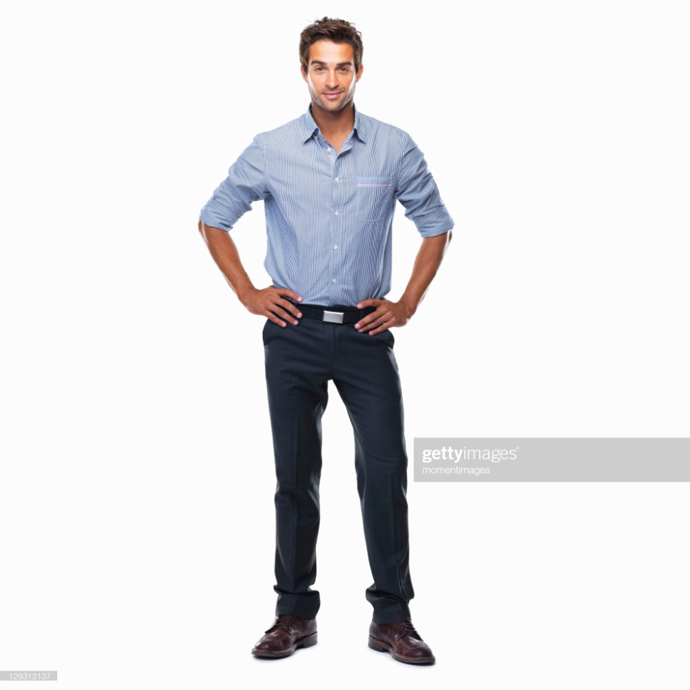 Portrait Of Young Business Man Standing With Hands On Hips And Man Standing Hands On Hips Business Man