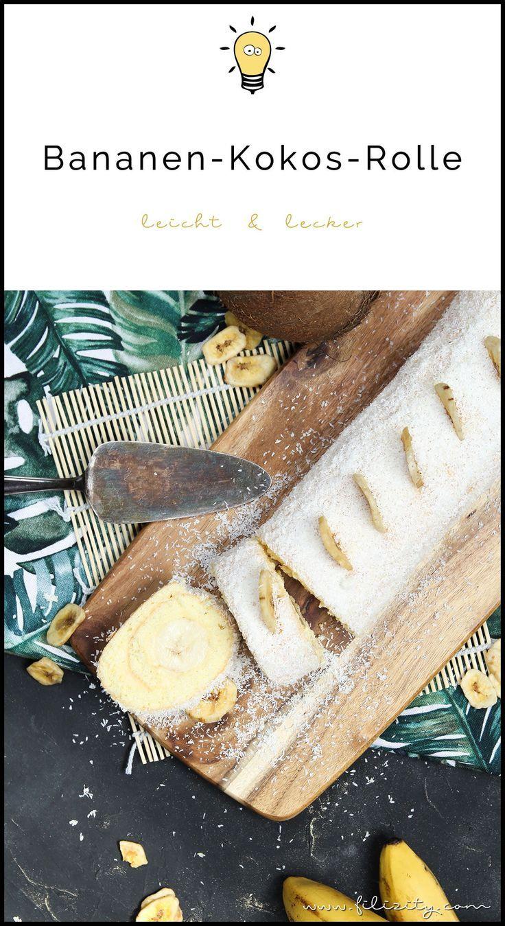 Einfaches Tortenrezept: Bananen-Kokos-Biskuitrolle mit ...