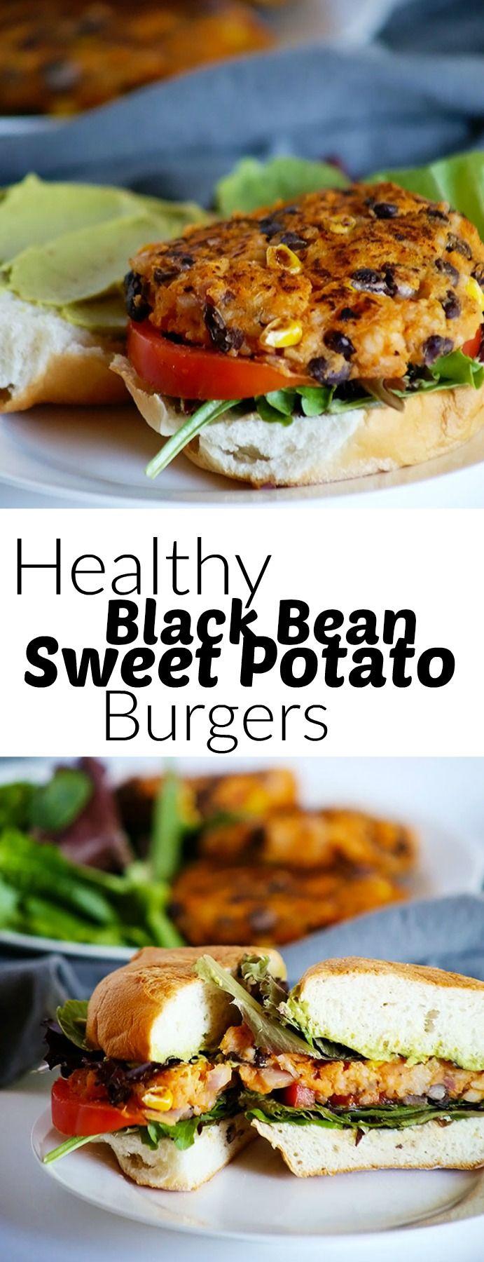 Healthy Black Bean Sweet Potato Burgers Recipe Sweet Potato Burgers Food Recipes Healthy
