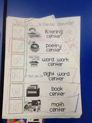 Center Checklist - great for creating accountability during center - creating checklist
