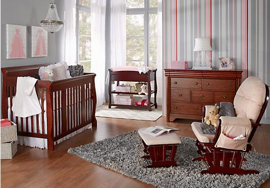 Attractive Picture Of Tuscany Crib Dark Cherry Nursery Bedroom From Nursery Room Sets  Furniture