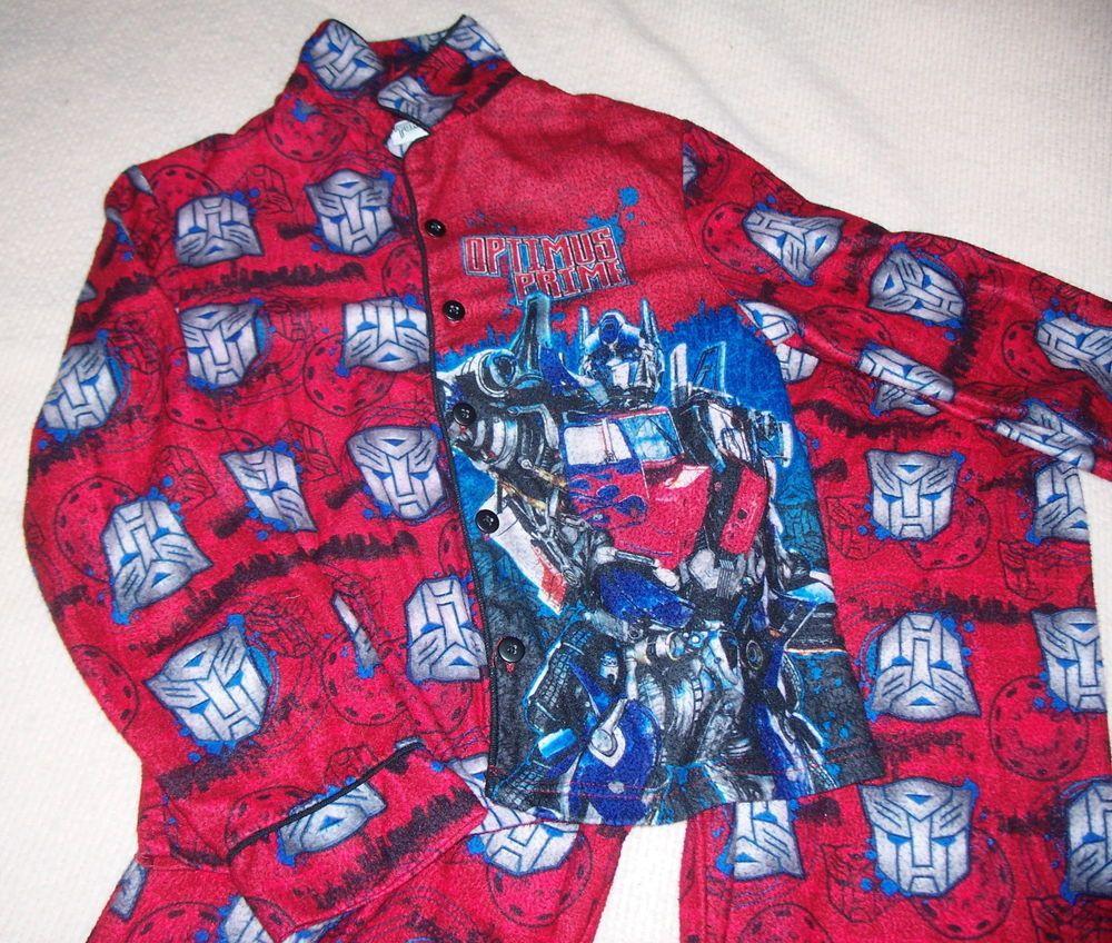 Boy' Transformers Pajamas Sz L Large Optimus Prime Long Pants Sleeves Red Blue #hasbro #