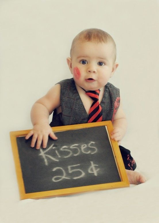 Cute adorable baby boy valentines day photo shoot ideas kisses booth chalkboard kisses suit and tie baby photos kiss me photo