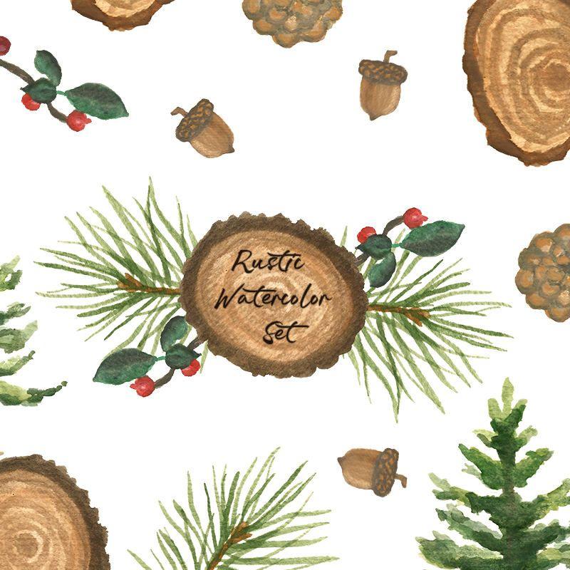 Rustic Watercolor Clip Art Set Pine Tree Painting Wood Slice Acorn