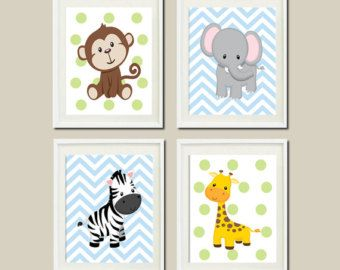 jungle animals nursery zoo wall art decor giraffe zebra monkey tiger grey yellow gender neutral. Black Bedroom Furniture Sets. Home Design Ideas