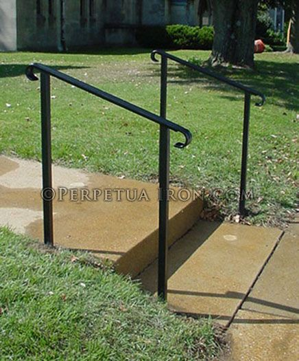 Wrought iron handrail only for porch core drilled in - Exterior wrought iron handrails for steps ...