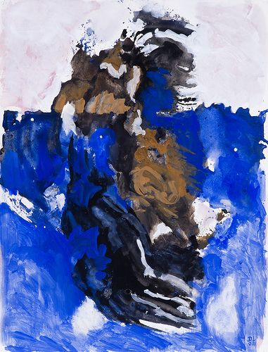 Blue and Black, 2011 - gouache watercolor on paper by contemporary Dutch abstract artist-painter Daan Lemaire