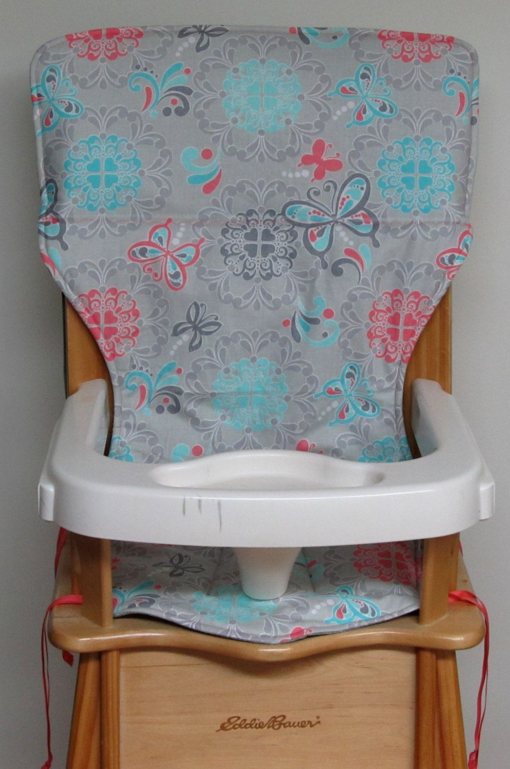 Eddie Bauer Wooden High Chair Pad Replacement Cover Butterflies