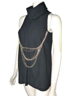 depot vente en ligne chanel top en laine noire et chaînes cc | TendanceShopping.com