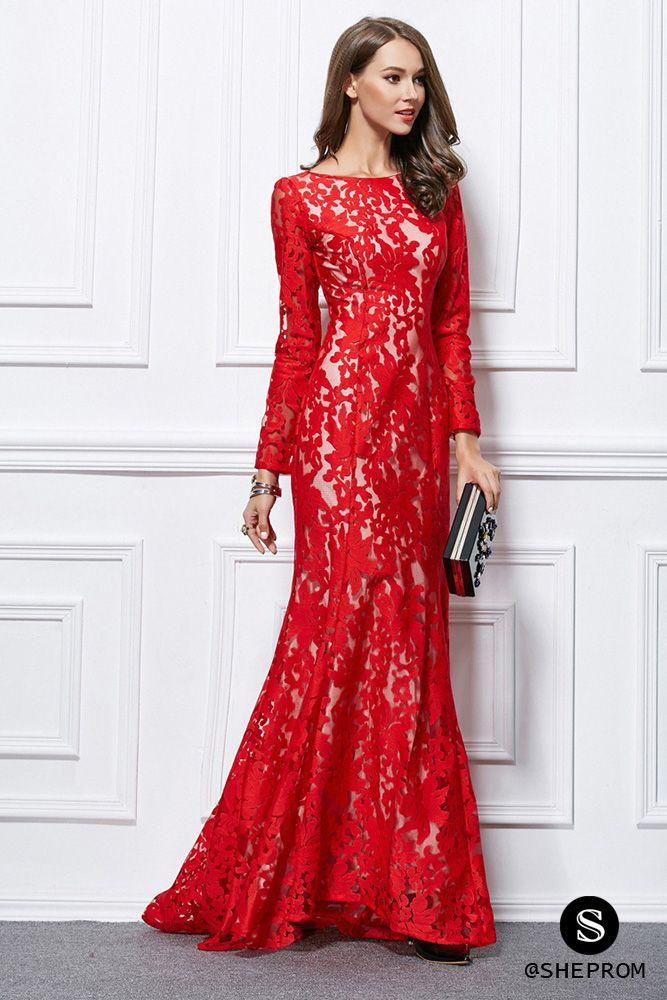 Sweep Train Long Lace Sleeve Mermaid Evening Dress - $117 #CK437 ...