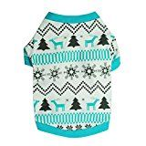 DETALLAN Christmas Pet Dog Clothes Printed Snow Fawn Interlock Christmas Pet Shirt (M)