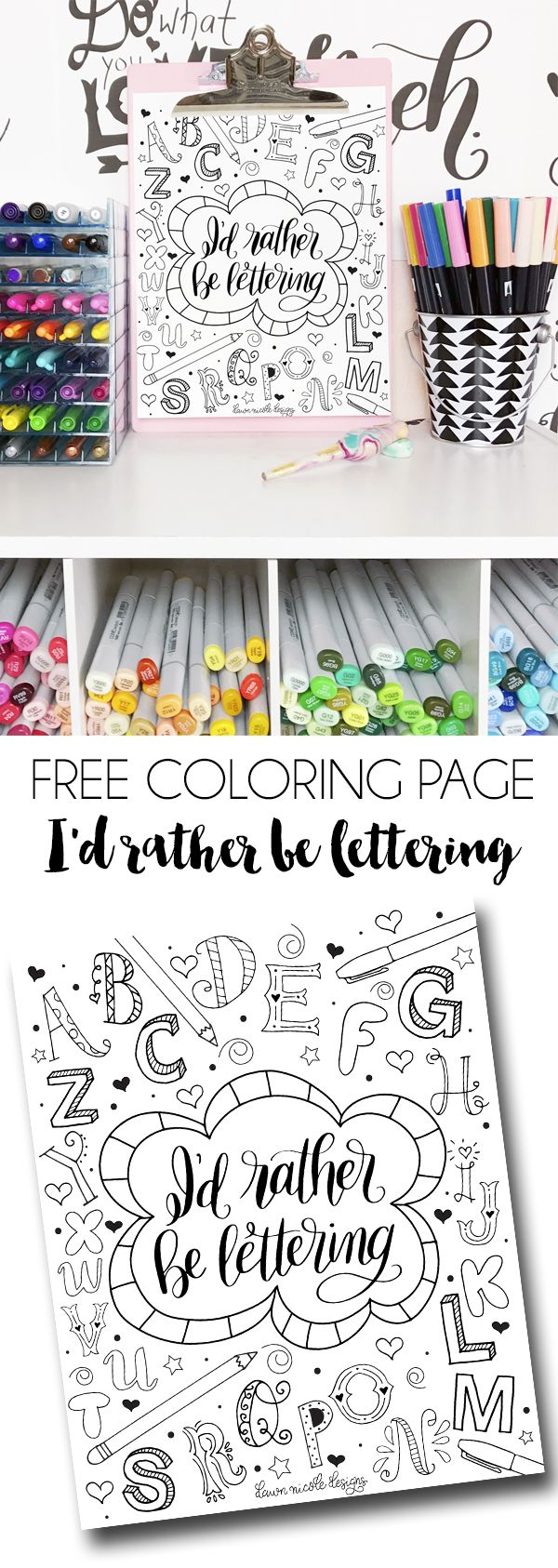 Id Rather Be Lettering Free Coloring Page