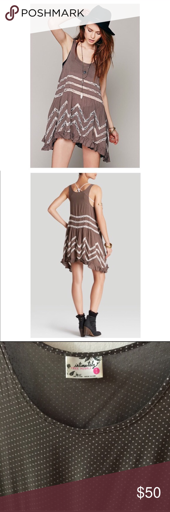 Free people trapeze dress Gray/ brown free people dress. Size small/medium. Only worn a few times. No trades please Free People Dresses