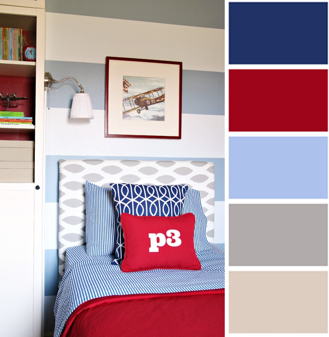 Choosing fabrics and colours for older boys navy red for Fabric for boys room