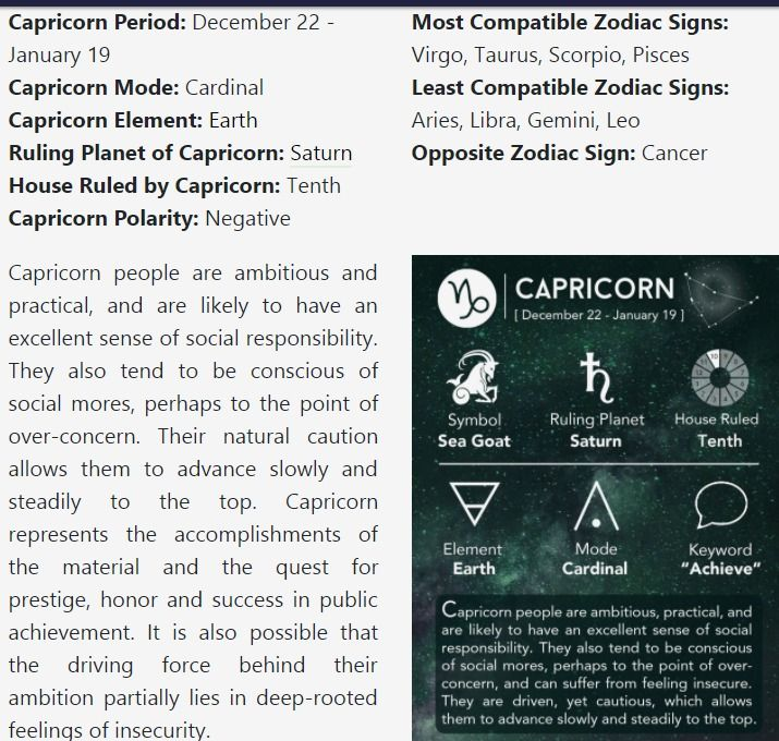 Compatible Astrology Capricorn