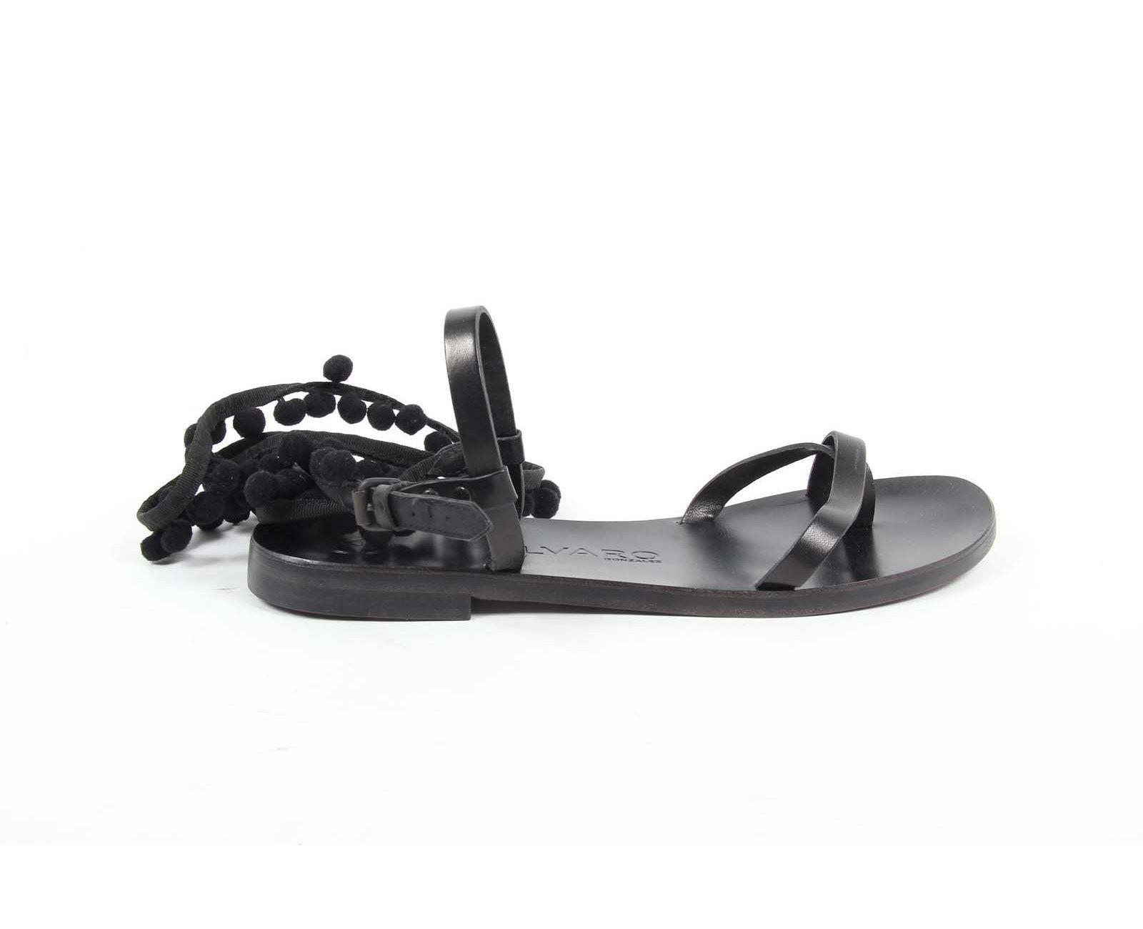 Ãlvaro González Womens Flat Sandal ANNA BLACK BLACK