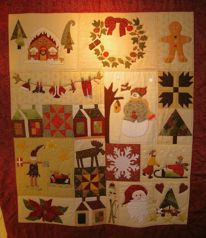 Beautiful handmade Christmas quilt which is displayed on the wall ... : handmade christmas quilts - Adamdwight.com