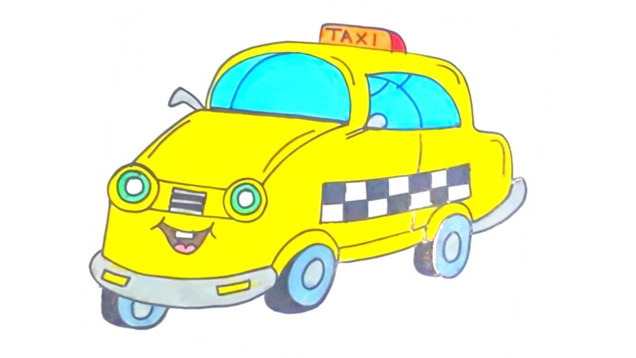 How To Draw A Cartoon Taxi Cab Step By Step For Kids Easy And