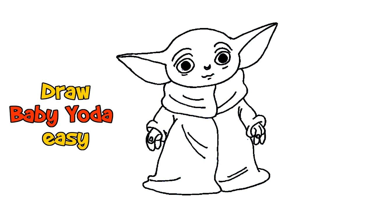 How To Draw Baby Yoda Mandalorian Yoda Drawing Baby Drawing Art Tutorials Drawing